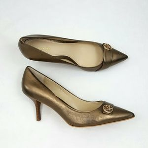 Coach Zelda Pumps Golden Bronze Pointy Toe 7.5